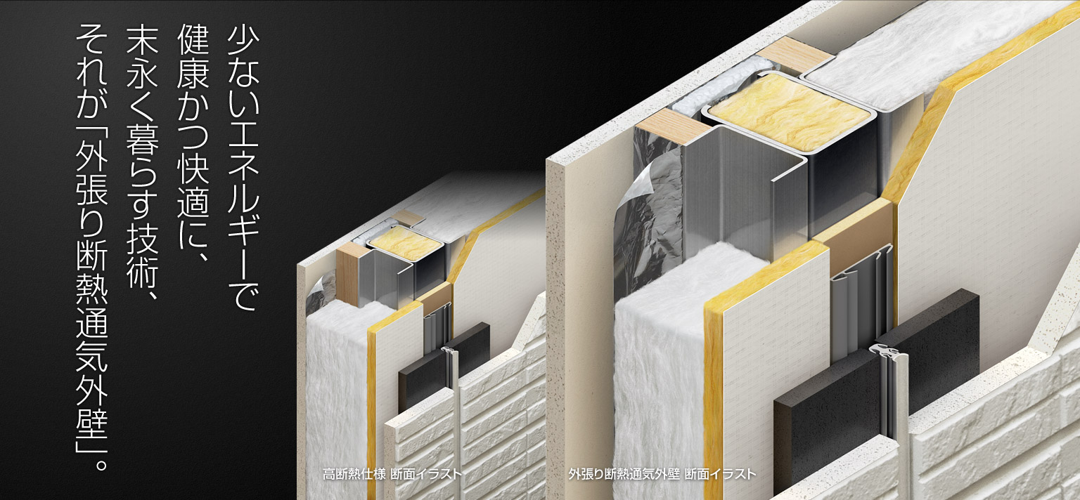 少ないエネルギーで健康かつ快適に、末永く暮らす技術、それが「外張り断熱通気外壁」。